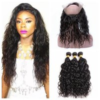 Wholesale wholesale lace frontals - Huihao 9A Water Wave Human Hair Bundles With 360 Lace Frontal Closure Wet Wavy Ear To Ear Full Lace Frontals 4pcs lot