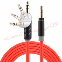 Wholesale 360 Degree Roatation Auxiliary Cord MM male to male audio aux cable for mobile phone mp3 speaker headphone M FT