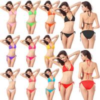 Wholesale swimwear 11 online - 11 Colors Women Sexy Bikini candy color Swimwear Summer Solid Beachwear Push Up Bikini Set Padded Beach Bras Swimsuit Bathing Suits AAA355