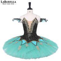 ingrosso tutus verde adulto-Tutù di balletto professionale per le donne Verde adulto Tutu di danza classica Esmeralda Pancake Gonne BT9220