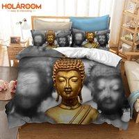 3d bettwäsche gesetzt einzeln großhandel-2 / 3pcs Bettwäsche Set Geometrische 3D Buddha Bettbezug Gedruckt Buddha Kissenbezug AU / US / EU Single / Doppel / Königin / König Bettbezug Set