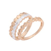 Wholesale 585 Ring - 2018 New Fashion 585 Rose Gold Color Women Jewelry Romantic White Cubic Zircon Gold Silver Lovers' Wedding Rings