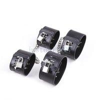 кожаные кандалы оптовых-Lockable подкладке кожаные кандалы наручные манжеты оковы Anklecuffs наручники оковы #R45
