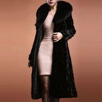 Wholesale mink hair fur coat women - Luxury warm winter women faux fur coat long-sleeve mink hair design short outerwear black large fur collar plus sizes S-3XL