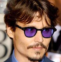johnny óculos de sol venda por atacado-SPEIKE Personalizado Óculos De Sol 44/46 / 49mm Johnny Depp estilo Vintage rodada Lemtosh óculos de sol de alta qualidade com lentes azuis lentes roxas