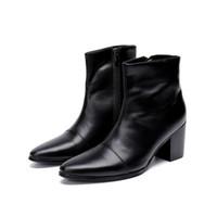 ingrosso stivali neri di caviglia-Nuovi stivali da uomo in vera pelle italiana moda stivali tacco alto uomini stivali moda stivali da moto punta a punta nero