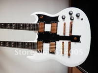 Wholesale guitar electric gold hardware for sale - high quality New Arrival Strings Double Neck G Custom Guitar SG white Electric Guitar gold hardware