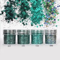 Wholesale art hexagon glitter for sale - ml Dark Green Shine Round Nail Glitter Mixed Hexagon Tinsel Powder for Nails Powder Green Nail Tips Nail Art Decoration SF0014