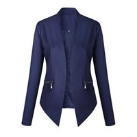 Wholesale Women S Office Wear - Wholesale-2017 Winter Autumn Elegant Outwear Blazer Female Women Blazers and Jackets Slim Ladies Office Work Wear Business Coats Tunic Top