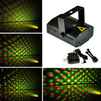 estágio iluminado venda por atacado-Azul / Preto Mini Laser Stage Iluminação 150 mW GreenRed LED luz DJ Laser Party Luz de Palco Disco Dance Floor Luzes + 3 anos