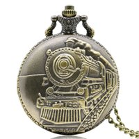 presentes de vapor venda por atacado-Antigo Relógio de Bolso Locomotiva Bronze Steam Train Carving Pingente Neckalace Melhor Relógio Presente para Meninos Estudantes Relogio Hour Saat