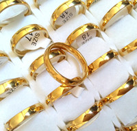 Wholesale gold comfort fit wedding band resale online - 50pcs Gold mm Wedding Engagement Rings Men Women L Stainless Steel Plain Band Finger Rings High Quality Comfort fit Lovers Couples Ring