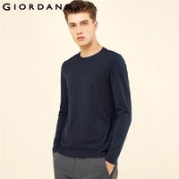 t-shirt à manches longues achat en gros de-Giordano Hommes T -Shirt Solide Crewneck côtelé T-shirts Manches longues Coton brossé T-shirt chaud d'hiver Vêtements décontractés