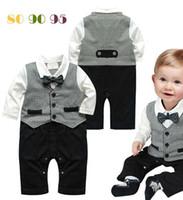 gravata infantil da roupa do menino venda por atacado-Macacão de bebê de manga comprida com gravata primavera outono bebê menino cavalheiro romper infantil de uma peça formal jumpsuit criança roupas