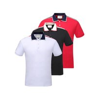 Wholesale Mens Striped - 2018 Italy designer polo shirt t shirts Luxury Brand snake bee floral embroidery mens polos High street fashion stripe print polo T-shirt