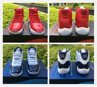 red wine toptan satış-Üst Win gibi 96 82 Basketbol Ayakkabıları Erkekler Gerçek Karbon Fiber 11 s Spor Salonu Kırmızı Chicago 378037 Midnight Donanma Sneaker Boyutu 5.5-13.5