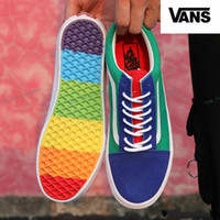 Wholesale colorful skate shoes - VANS Old Skool Rainbow Skate Shoes Canvas Casual Sneakers Colorful Soles Mens Womens Vans Sean Wotherspoon Skateboarding Shoes Size 36-44