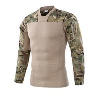 havalı takım elbisesi toptan satış-Askeri Kamuflaj ABD Ordusu Unifrom Savaş Gömlek Dirsek ile Airsoft Taktik Takım Paintball Militar Dişli Hunter Giyim