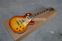guitar body mahogany maple 2018 - Hot sale lp standard electric guitar,tiger striped maple cover AAA mahogany body,chrome hardware,classical 57 version. R9 lp