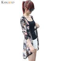 dama peonía al por mayor-Mujeres de la moda Boho Peony Print gasa chal flojo gasa kimono cardigan Casual Lady Shirt Cover Up verano playa blusas Augu3