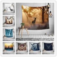 фон на лесной стене оптовых-8 Дизайн на стене гобелен спальня украшения лесной олень печать скатерть йога коврик пляжное полотенце пикник одеяло партия фон
