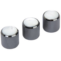 Wholesale tone electric guitar online - 3pcs Domed Volume Tone Control Knob for Electric Guitar Black with White Top
