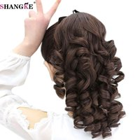 Wholesale wholesale fake hair ponytail - SHANGKE Short Curly Flip In Ponytails Clip In Fake Hair Extensions Natual Clip Hair Tails Heat Resistant Synthetic Ponytail
