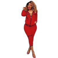 trajes de color rojo más mujeres de talla al por mayor-Mujer Casual Otoño Primavera Manga larga de dos piezas Jogger Set Señoras Otoño Chándal Trajes deportivos Negro Rojo Talla S-XL