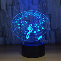 Wholesale music lamp water resale online - Music Symbol D Optical Illusion Lamp Night Light DC V USB Charging AA Battery Dropshipping