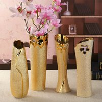 lebende vasen großhandel-European Ceramic Golden Vase Handwerk Plattierung Dekoration einfachen modernen Wohnzimmer Peeling kann mit Wasser gefüllt werden