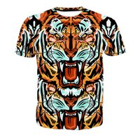 ingrosso tee grafiche unisex-T-shirt da uomo Tiger Head 3D Full Print Uomo Casual Tops Unisex Maniche corte Graphic Graphic Tee Shirt Tees T-Shirts Blouse (RLT-4006)