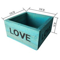 Wholesale artificial flowers wooden - Free shipping Wholesale Small Mini Cube Wooden Flower pot Flower planter Wood Box Meat plant Succulent pots
