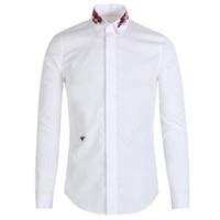 Wholesale Mens Embroidery Designs - 2018 Bee Embroidery Shirt Men Luxury Brand Design Mens Dress Shirts Long Sleeve Slim Fit Chemise Homme Cotton Man Shirt 3XL