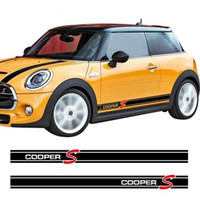 Wholesale door skirt - 2Pieces Side Skirt Graphics Stripes Decal Stickers for Mini Cooper S R56 R57 R58 R50 R52 R53 R59 F55 F56