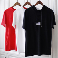 Wholesale pure white tee online - 18ss Summer Europe Paris Fashion Men Red Black White Broken Hole Hats T shirt Pure Cotton Hooded shirt Casual Women Tee T shirt