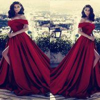 Wholesale vestidos de fiesta for sale - Group buy Dark Red V neck Off The Shoulder Long Prom Party Dresses Sexy High Split Backless Sky Blue Evening Gowns Vestidos De Fiesta