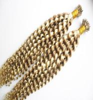 jungfrau kapsel großhandel-Jungfrau-brasilianische verworrene lockige Fusion Haarverlängerungen 200si Spitze Haarverlängerung menschliches Haar 200g Kapseln Pre Bonded 1G jeder Stränge