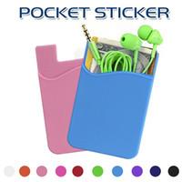 ingrosso portafoglio da 3 m-Telefono Pocket Sticker 3M Carta adesiva Adesivo Slot per scheda Carta di credito Portafoglio Custodia a tasca Custodia universale per Smartphone con borsa OPP
