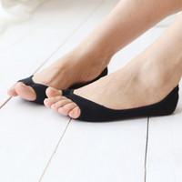3d2167483b1 Women Boat Socks Summer Thin Open Toe Socks Female Toeless Low Cut Ankle  Slipper Invisible Shallow Anti Slip Liner