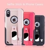 çoklu iphone kasası ambalajı toptan satış-Iphone xs 2 için 1 çok fonksiyonlu selfie sopa telefon kılıfları ile perakende paket telefon kılıfı için iphone xs xr xs max