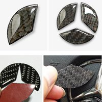 Wholesale carbon fiber steering wheels - Carbon Fiber Steering Wheel Emblem Sticker for Mercedes Benz Class W212 W211 W210 W203 W204 W205 Class CLA GLK CLS A C E Class
