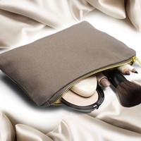 büyük kozmetik kılıfları toptan satış-Taşınabilir kozmetik çantası büyük depolama metal fermuar kılıfı boş tuval makyaj çantası kılıfı