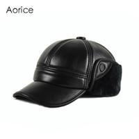 HL165-F gorra de béisbol de cuero genuino sombrero de invierno de los  hombres a estrenar de piel de vaca sombreros de deporte de cuero negro con  Faux fur en ... d14291bfd97