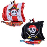 Wholesale Kids Pirate Ships Toys - 68x55cm Funny Balloons Pirate Ship Foil Balloons Inflatable Toys Kids Baby Wedding Birthday Party Decoration