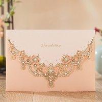einladungskarten designs großhandel-Wishmade Glittery Hochzeitseinladungen Karten Kit mit Laser geschnittene Spitze Design Flora Engagement für Verlobung Geburtstagsfeier Brautdusche