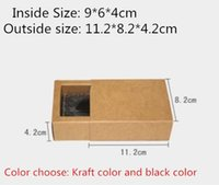 Wholesale Jewel Packaging - 20pcs lot-9*6*4cm Small Size Black Kraft Paper Drawer Box Handmade Soap Craft Jewel Macaron Packaging Party Gift Boxes