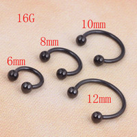 Wholesale horseshoe ring stainless steel - 100pcs lot Stainless Steel Black Anodized Horseshoes Circular Barbell With Balls Nose Ring Eyebrow Labret Piercings Body Jewelry
