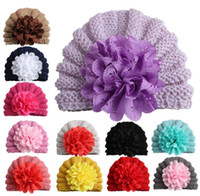 Wholesale flower knitted hats girl resale online - Baby Warm Knitting Hat Photography Accessories Girl Flower india Caps Touca Infantil kids winter beanie turban hats