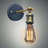lámparas de noche de hierro al por mayor-Louis Poulsen Aplique Lámpara de pared Vintage Loft Luz de pared E27 Bombilla Edison Plateado Hierro Retro Iluminación para el hogar Industrial Lámpara de noche