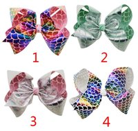 Wholesale Large Bows For Hair - 8 Inch Mermaid Christmas Jojo Bows Dancing Jojo Bow for Children Birthday Party Signature Metallic Hair Bows Jojo Siwa Style Large Bows